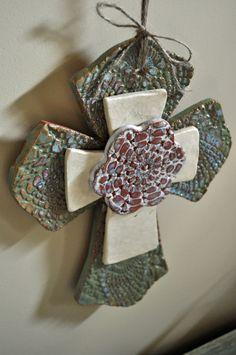 Trinity Cross - Handbuilt Pottery Lace Ceramic Flower Cross Wall Hanging.