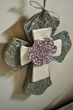 Trinity Cross - Handbuilt Pottery Lace Ceramic Flower Cross Wall Hanging.
