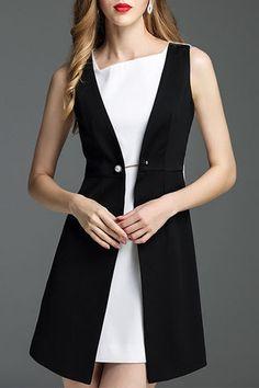 Black Color Block Brooch Asymmetrical Dress Dressy Dresses, Stylish Dresses, Simple Dresses, Women's Fashion Dresses, Nice Dresses, Geometric Fashion, Fashion Capsule, Asymmetrical Dress, Fit Flare Dress