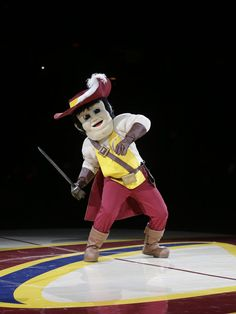 gets ready to attack preseason for the Cleveland Cavaliers with his new cutlass Character Costumes, Mascot Costumes, Cavalier, Cleveland, Ronald Mcdonald, Nba, College, Gallery, Sports