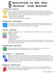 6 creative ideas for brainstorming and writing exercises. Great for writing clubs and homeschooling!