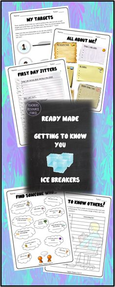 Getting to know you icebreakers, perfect for new students or bonding time!