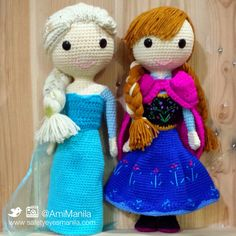 I made these Elsa and Ana crochet dolls from Frozen for a friend's 4-year old daughter just in time for Christmas.