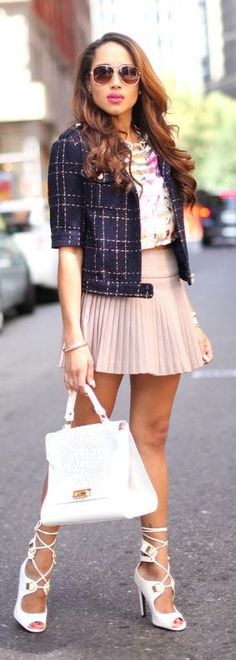 Blush Pleated Mini Skirt