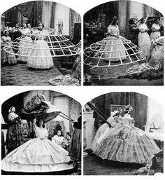 The cumbersome crinoline - (1850)
