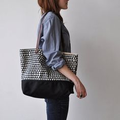 TOTE BAG  triangle by bookhouathome on Etsy, $98.00