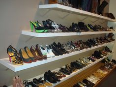 I love these shelves! And these shoes!!