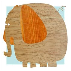 A chubby wooden elephant by Standard Design. $18