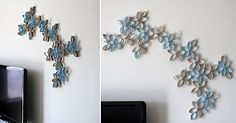 Another variation of the toilet paper roll wall decor.