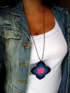 Crochet Granny Square pendant by BohemianHooksJewelry on Etsy, $16.00