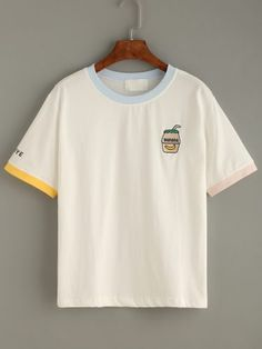 White Embroidered Contrast Neck T-shirt