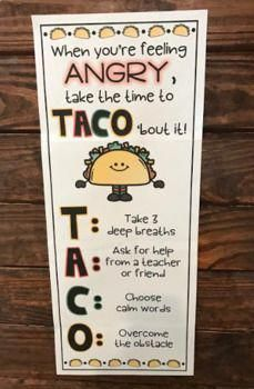 Encourage students to TACO' bout their anger! Powerful anger management strategies presented in a fun way for kids. Encourage students to TACO' bout their anger! Powerful anger management strategies presented in a fun way for kids. Counseling Activities, Therapy Activities, Anger Management Activities For Kids, Preschool Classroom Management, Social Activities, Classroom Decor, Future Classroom, Anti Bullying Activities, Positive Behavior Management