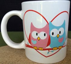 Owl Couple Pink Blue Heart Just For You Mug Coffee Cup Megatoys Collectors Owls  #JustForYou