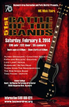 """Poster for Hayward Area Recreation and Park District's """"Battle of the Bands"""""""
