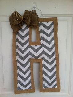 Gray chevron and burlap Initial by AmberlynsDoorDecor on Etsy, $23.00