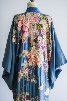 Antique Blue Silk Kimono Robe with Colorful Embroidery
