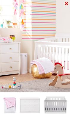 Your baby girl is on the way! Be sure your registry includes light, bright, colorful things for her nursery. Add the Delta Children Clermont 4-in-1 Crib that converts to a toddler bed, daybed or full-sized bed, plus the matching Dresser. Your little one will have sweet dreams as she nestles in the adorable Circo Rainbow Hearts 4-pc. Crib Bedding Set, with comforter, dust ruffle, blanket and sheet. Finally, add whimsical toys and decor to give the room personality.