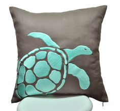 Nautical gift, coastal beach decor, cabin lake house throw pillow cover comes with taupe brown cushion embroidered with turquoise sea turtle.