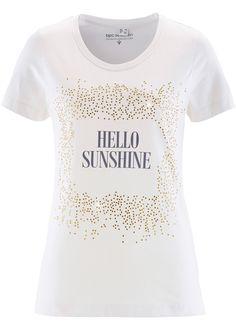 T-Shirt, bpc selection, hellgrau meliert bedruckt