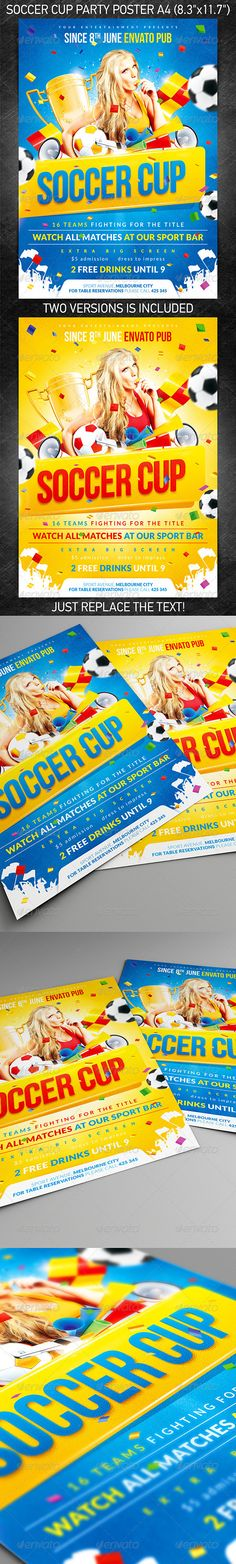 Soccer Cup party poster #fifa world cup #gold cup  • Download here → https://graphicriver.net/item/soccer-cup-party-poster/2397916?ref=pxcr