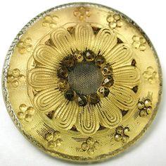 Antique Lacy Glass Button  (Vintage Fancy Golden Color Flower Design)