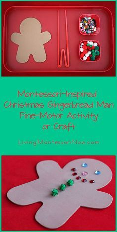 Montessori-Inpsired Christmas Gingerbread Man Fine-Motor Activity or Craft