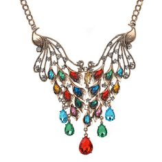 >> Click to Buy <<  Europe Style exaggerated Ornament The Peacock Set auger Luxury Water Droplets Necklace For Woman Gift  Accessories Q7604 #Affiliate