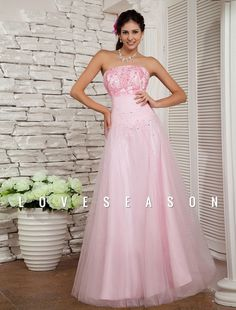 Demure A-line Cowl Neck Floor-length Tulle Sweet 16 Prom Dress - LoveSeason.com