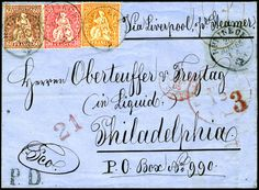 SWITZERLAND-USA, 1865 cover, franked with 20c orange, 30c vermilion, and 60c bronze Sitting Helvetia issue, prepaying the 1F10c single letter rate to the United States under the US-French Convention.