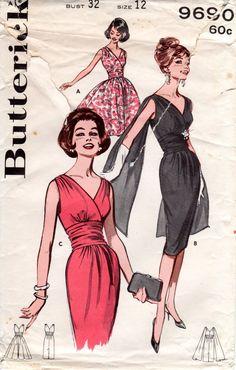 1960s Cocktail Dress with Shoulder Drape - Vintage Pattern Butterick 9690 - Bust 32 Full or Slim Skirt by ErikawithaK on Etsy