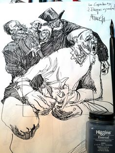 """Goya's Los Capricos is one of my """"desert island"""" books with so much to see and learn from the master draughtsman and storyteller.   As an exercise in design I tried creating a version of each one of his plates in pen and ink; one per night."""