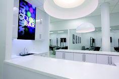 Clean Modern Design. TONI AND GUY Hairdressing Academy South Coast Plaza Toni And Guy, Bathroom Lighting, Modern Design, Coast, Mirror, Furniture, Home Decor, Homemade Home Decor, Bathroom Vanity Lighting