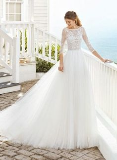 Rosa Clara Cosette is a feminine wedding dress with a lace bodice and three quarter length sleeves. Stunning Dresses, Unique Dresses, Modest Dresses, Designer Wedding Dresses, Wedding Gowns, Wedding Flowers, Grooms And Ushers, Rosa Clara Bridal, Morgan Davies Bridal