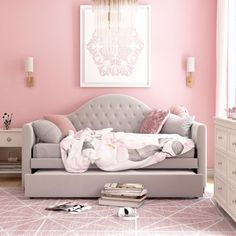 Girls Daybed Room, Kids Daybed, Daybed With Trundle, Girls Bedroom, Bedroom Decor, Daybed Bedroom Ideas, Daybed Ideas, Upholstered Daybed, Little Girl Rooms