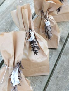 Cinch a plain brown paper lunch bag with a lovely ribbon and embellishment for small           gifts or favors. #giftwrap
