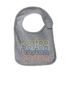 Boston Massachsetts Retro Funny Infant Jersey Bib Athletic Heather One Size, Grey