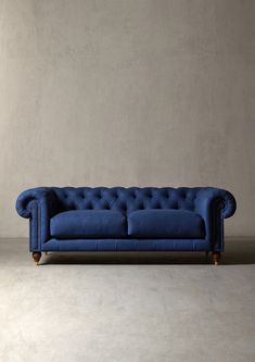 The WINSTON Sofa - in Midnight Wool - Swoon Editions - swooneditions.com - #chesterfieldsofa #bluesofa