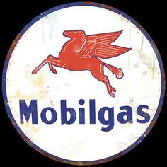 """Large 28"""" Mobil Gas Vintage Metal Sign   eBay"""