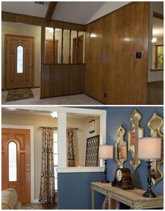 Living Room Renovation Before And After living room before and after. paneling painted, updated. | home