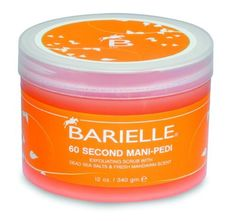 Barielle 60 Second Mani-Pedi, 12-Ounce Jar by Barielle. $17.15. Fresh, clean and unique mandarin scent. Skin will have a healthier glow & smoother finish in 60 seconds. Nourishes, moisturizes & reconditions nails, hands and feet. Gently exfoliates dead skin cells. Also recommended for knees, elbows & other rough areas of the body. An all natural, multi-tasking spa treatment that blends Dead Sea Salts and essential oils to help heal and restore luster to dry, cr...