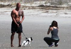 Pin for Later: Puppy Love! Dwayne Johnson Takes a Stroll on the Beach With His Girlfriend and Dog Dwayne Johnson Wife, The Rock Dwayne Johnson, Rock Johnson, Dwayne The Rock, Lauren Hashian, Most Handsome Men, Ohana, French Bulldogs, Background Images