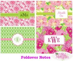 lilly pulitzer thank you notes | Personalized Lilly Pulitzer Foldover Notes At The Pink Monogram