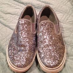 Old Navy silver glitter sparkle shoes. Gently worn. Great for summer. Great slip on shoes.  Love to bundle. Old Navy Shoes