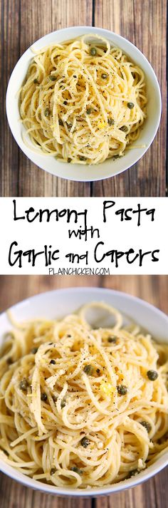 Lemony Pasta with Garlic and Capers recipe - quick pasta dish tossed with olive oil, lemon, garlic, capers and parmesan - seriously delicious! Quick!! Ready in 15 minutes! Can be a side dish or a meatless main dish. We couldn't' stop eating this yummy pasta!