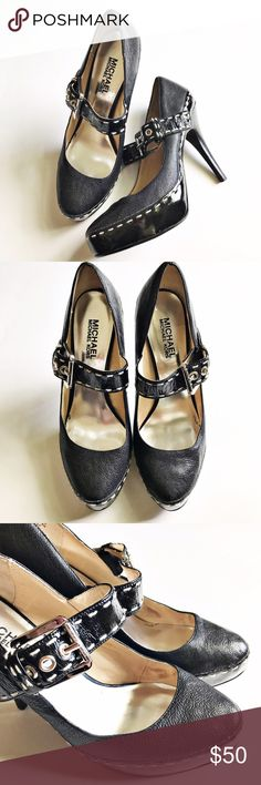 MICHAEL Michael Kors Black Heels MICHAEL Michael Kors black, leather, Mary Jane, heels. Off white stitching detail on strap and around shoe. Silver buckle. Approximately 4in heel and approximately 1in platform. MICHAEL Michael Kors Shoes Heels