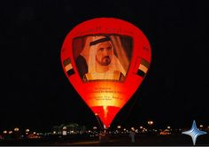 2008 The UAE Balloon Team has launched a hot air balloon featuring the face of UAE Vice President, Prime Minister and Ruler of Dubai His Highness Sheikh Mohammed bin Rashid Al Maktoum. The balloon was launched yesterday to mark the second anniversary of the day that Sheikh Mohammed became the Ruler of Dubai. The Balloon, Hot Air Balloon, Newspaper Cover, Sheikh Mohammed, Second Anniversary, Vice President, Prime Minister, Ruler, Dubai