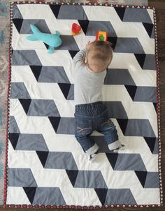Modern Geometric Chambray Unisex Baby Quilt and by LordandLittle, $225.00