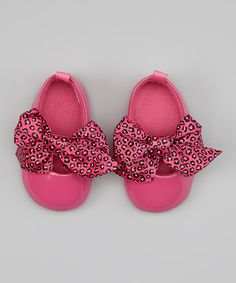 Look at this #zulilyfind! Vitamins Baby Hot Pink Leopard Bow Flat by Vitamins Baby #zulilyfinds