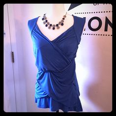 Royal Blue Top Super cute royal blue top by INC - International Concepts.  Washed but never worn.  Size: Large   Layered ruching in the front. INC International Concepts Tops Blouses