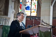 Regional Bishop of the Evangelical Church in Central Germany, Ilse Junkermann preaching during a worship service in Witternberg.#D241 until the Twelfth Assembly. #Assembly365 #LWFAssembly